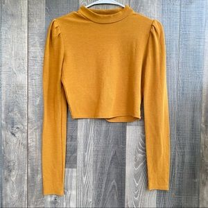 Forever 21 Orange Brown Crop Cowl Neck Top Medium